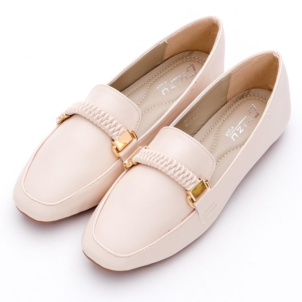 River&Moon樂福鞋-英倫紳士方頭造型平底樂福鞋 米杏