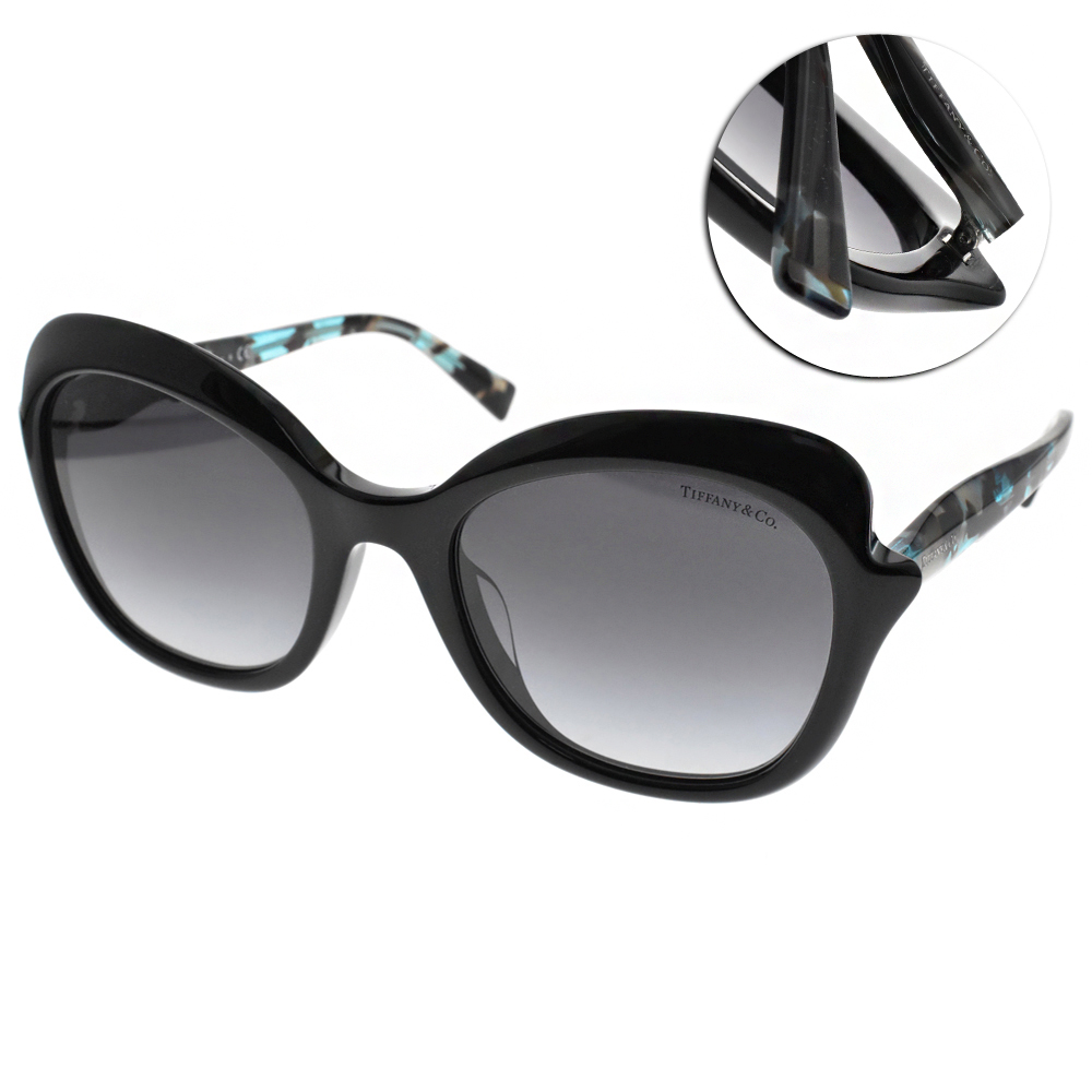 Tiffany&CO.太陽眼鏡 名媛時尚/黑-藍綠琥珀#TF4154F 82643C