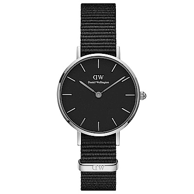 DW Daniel Wellington 典雅康沃爾黑NATO錶帶石英腕錶-銀框/28mm