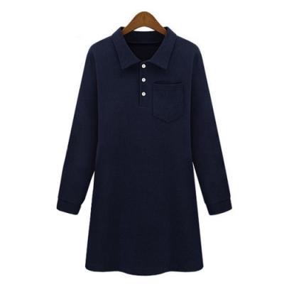 【韓國K.W.】(預購)素色翻領口袋歐美長袖洋裝-2色
