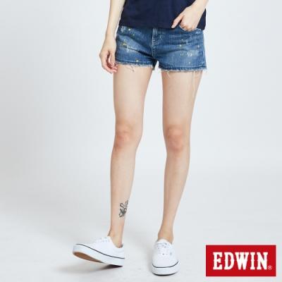 EDWIN 503 重加工潑漆牛仔短褲-女-中古藍