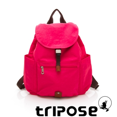 tripose MEMENTO系列微皺尼龍經典輕量後背包(大) 俏桃紅