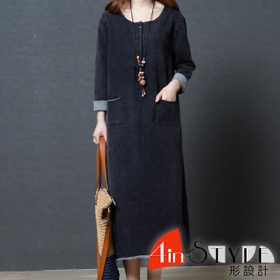 純色簡約圓領捲邊長款洋裝 (黑色)-4inSTYLE形設計