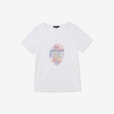 H:CONNECT 韓國品牌 女裝 - 水彩圖樣愛無限T-shirt-白色