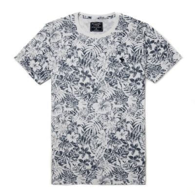 麋鹿 AF A&F 經典圓領電繡麋鹿滿版花樣短袖T恤(BONL)-白熱帶花樣色