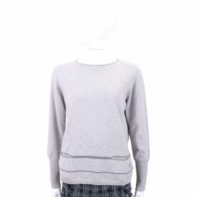 Andre Maurice 喀什米爾灰色條紋針織羊毛衫