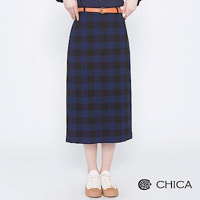 CHICA 摩登英倫配色格紋雙釦鉛筆裙(2色)