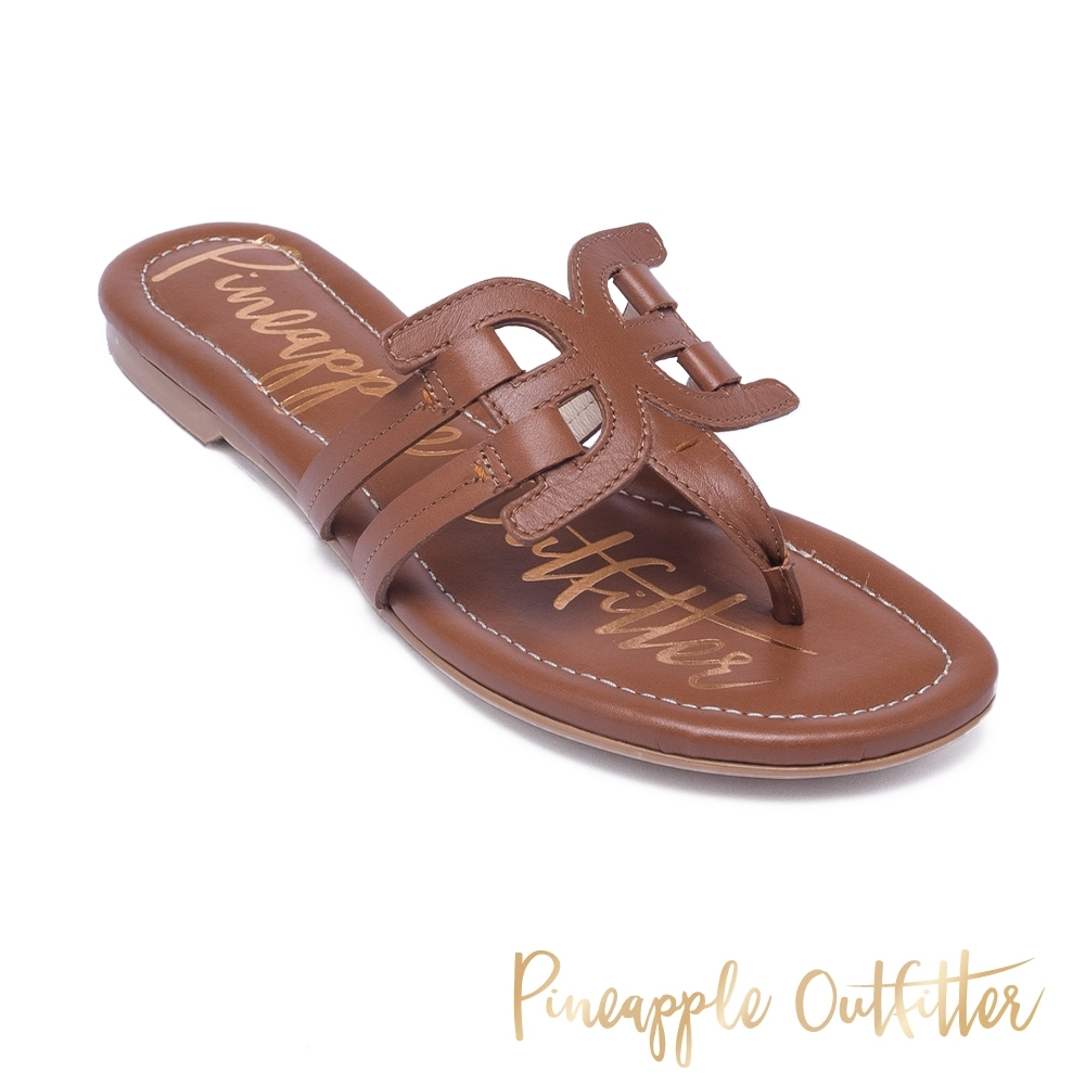 Pineapple Outfitter 夏日時尚皮革造型夾腳拖涼鞋-卡其棕