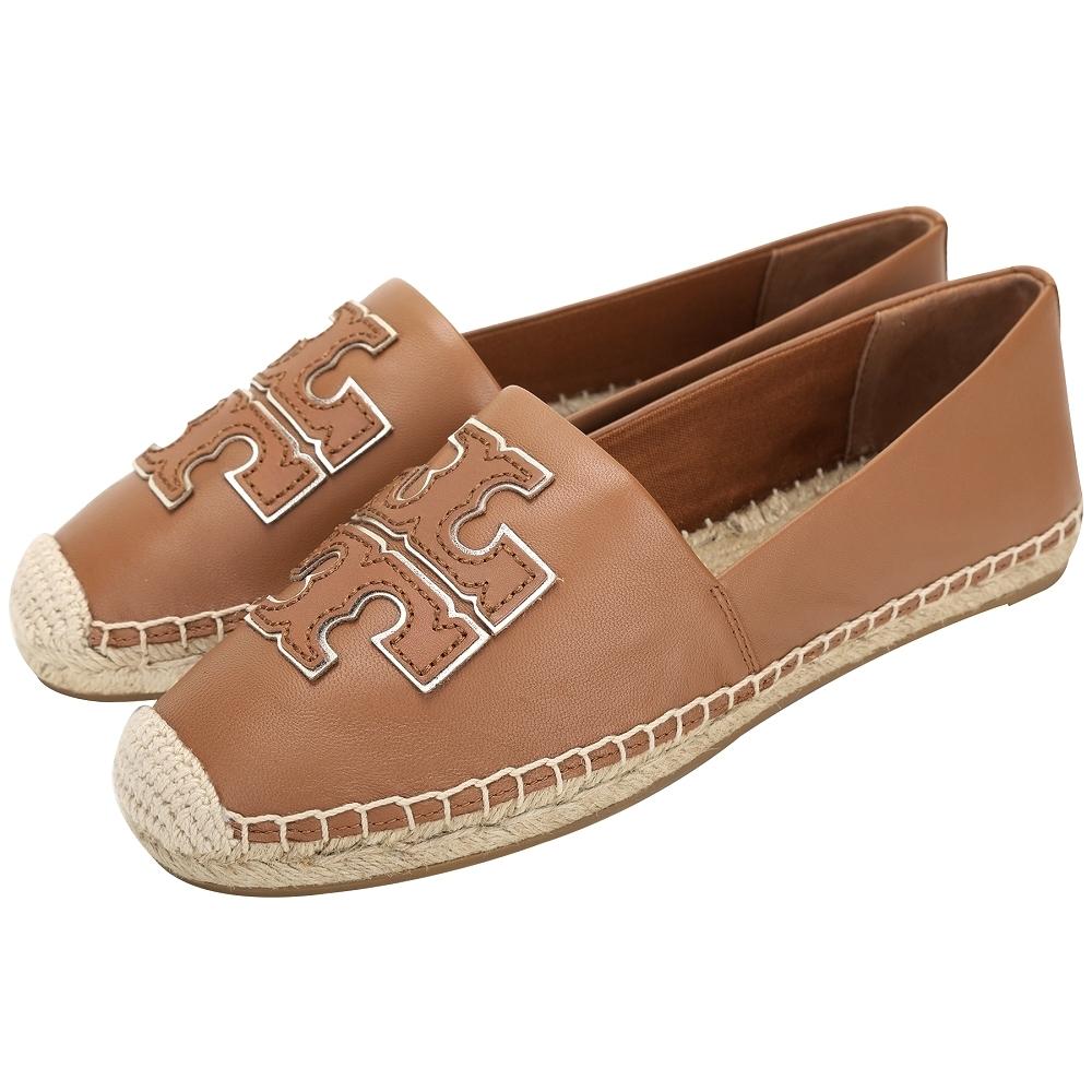 TORY BURCH Ines 雙T金屬色鑲邊納帕牛皮草編鞋(棕色)