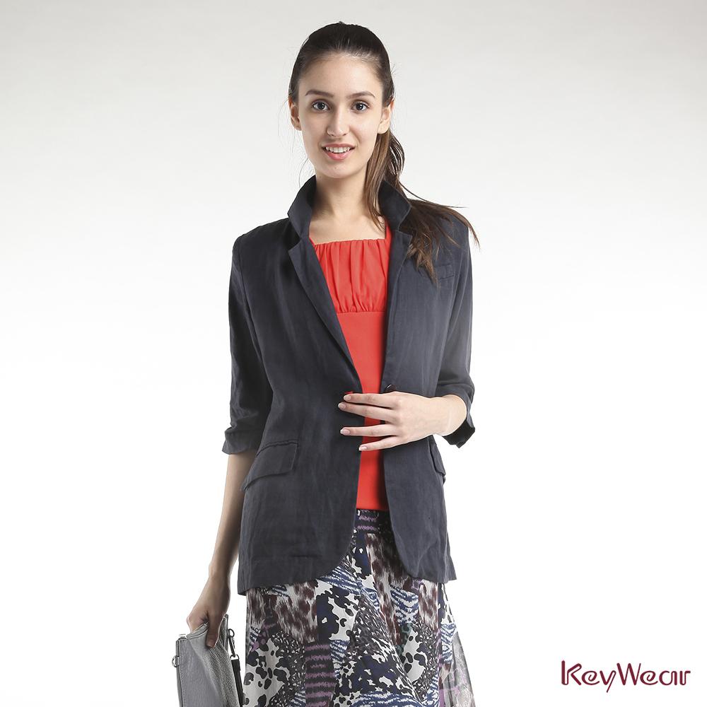 KeyWear奇威名品     簡約修身七分袖外套-灰藍色