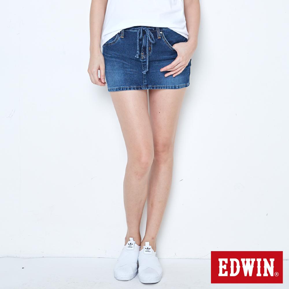 EDWIN 黑腰頭迦績超短裙-女-拔洗藍