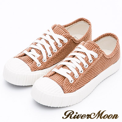 River&Moon餅乾鞋-韓系燈芯絨綁帶厚底休閒鞋-棕