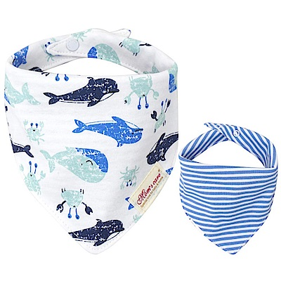 Baby unicorn 白藍海豚條紋純棉雙面圍兜