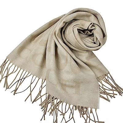 COACH 大C LOGO喀什米爾混羊毛&蠶絲寬版圍巾-米色COACH