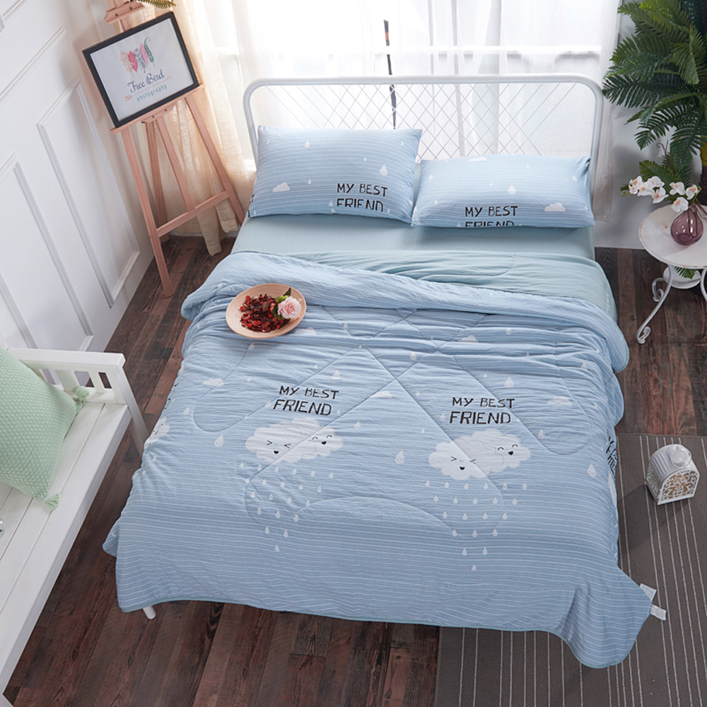 BUNNY LIFE 雲朵藍-雙人-水洗舒柔床包涼被組