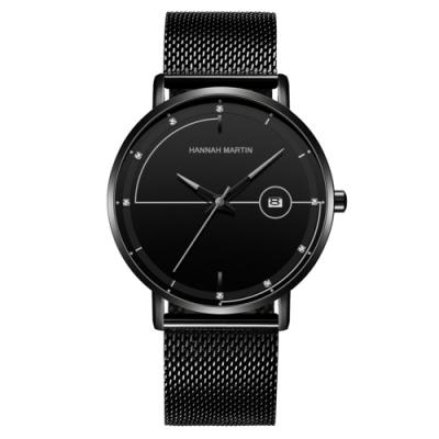 HANNAH MARTIN 領航之星鑲鑽刻度設計米蘭帶男錶-灰指針/40mm