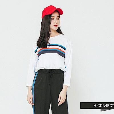 H:CONNECT 韓國品牌 女裝-線條撞色圓領T-shirt-白