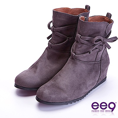 ee9 高雅氣質蝴蝶結繫帶素面平底短筒靴 灰色