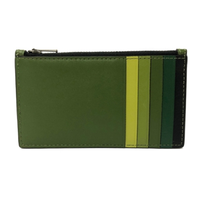 COACH 多卡夾層名片夾零錢包(漸層綠)