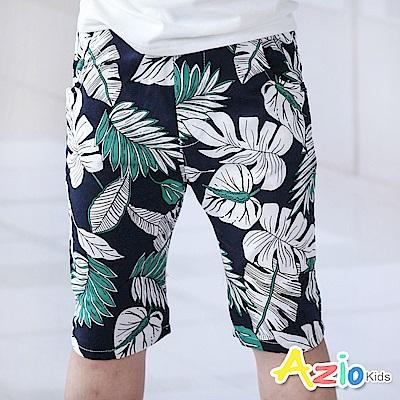 Azio Kids  短褲 滿版熱帶椰葉印花鬆緊短褲(綠)