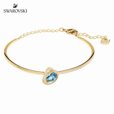 施華洛世奇 Outstanding 金色愛心飾框梨形藍墜飾手鏈