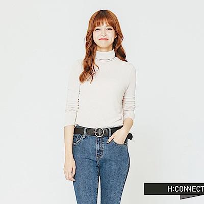 H:CONNECT 韓國品牌 女裝-合身高領純色上衣-卡其