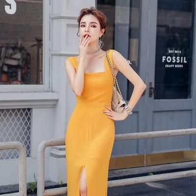 性感優雅方領削肩開叉裙襬氣質洋裝S-XL(共二色)-Sexy Devil
