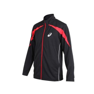 ASICS 男針織運動外套-立領外套 慢跑 路跑 亞瑟士 黑紅白