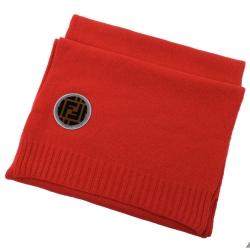 FENDI 經典LOGO裝飾針織羊毛圍巾(紅)