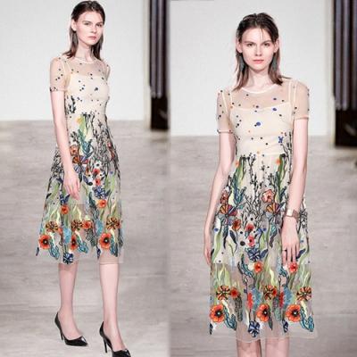 【韓國K.W.】超有型質感生活重工藝拼接網紗洋裝-2色