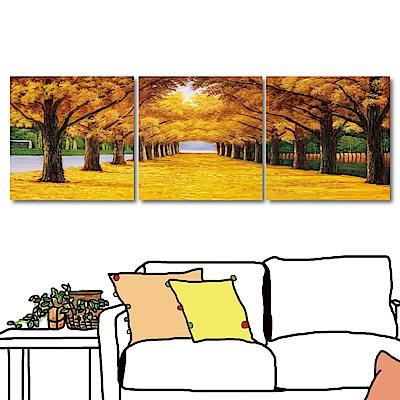 橙品油畫布 三聯式 鄉村風無框畫-秋葉的地毯40x40cm