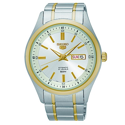 SEIKO 精工5號自動上鏈機械女腕錶/金/7S26-04K0K