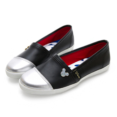 DISNEY 摩登女孩 米奇飾釦仿皮懶人鞋-黑