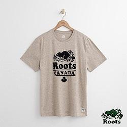Roots 男裝- 度假小屋短袖T恤-米白