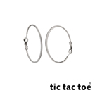 tic tac toe 漸進 白鋼圓形耳扣耳環 3cm 白鋼色