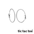 tic tac toe 漸進 白鋼圓形耳扣耳環 4cm 白鋼色