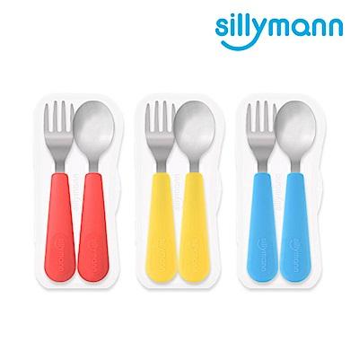 韓國sillymann-100%鉑金矽膠不鏽鋼幼童湯匙叉子餐具組(顏色任選)