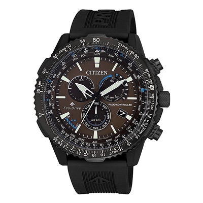 CITIZEN PROMASTER航空電波光動能腕錶-黑X咖-45mm