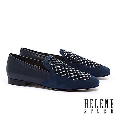 低跟鞋 HELENE SPARK 華麗璀璨晶鑽沖孔麂皮拼接羊皮樂福低跟鞋-藍