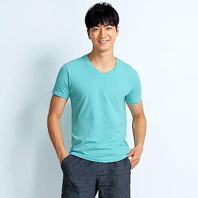 101原創 經典水洗原色V領素T恤-男女適穿-蒂芬妮藍
