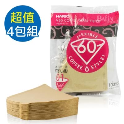 HARIO V60日本製2人份無漂白濾紙400張(VCF-01-100M*4)
