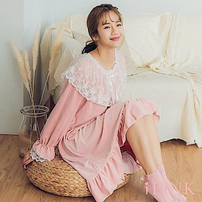 i PINK 浪漫宮廷 保暖海島绒洋裝居家服睡衣(粉)