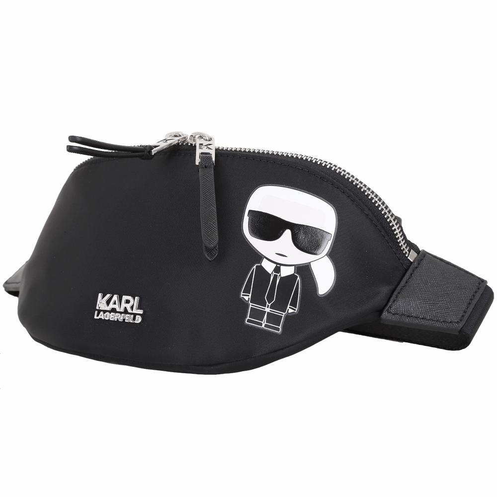 KARL LAGERFELD K/IKONIK 老佛爺圖案尼龍胸肩包/腰包(黑色)