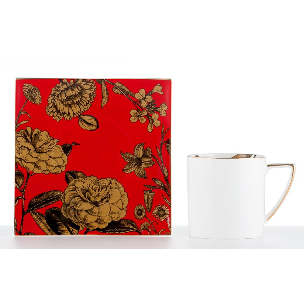 Royal Duke 骨瓷咖啡杯碟組-花開富貴(二杯二碟)