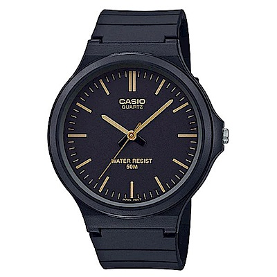 CASIO 超輕薄感實用必備大錶面指針錶-(MW-240-1E2)黑面金羅馬字/45mm