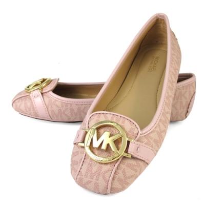 MICHAEL KORS Fulton Moccasin 金字大圓標Logo防潑水滿版MK平底鞋(芭蕾粉)