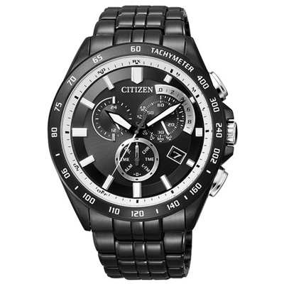 CITIZEN 獨我個性光動能電波三環腕錶-全黑-43mm
