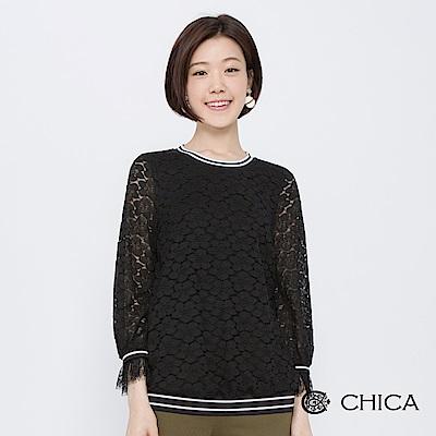 CHICA 初秋花園透膚花藝蕾絲上衣(2色)