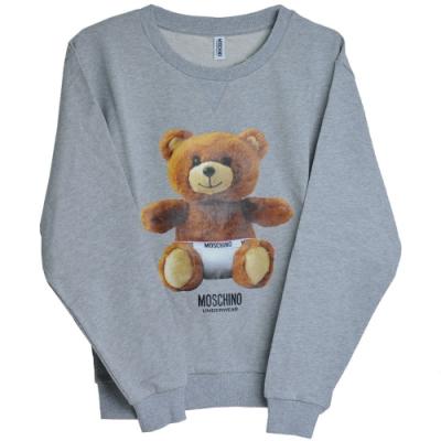 MOSCHINO 希臘製可愛小熊LOGO圖騰100%棉質長袖T恤(灰)