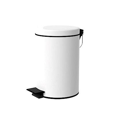 TRENY 加厚 緩降 不鏽鋼垃圾桶 8L (白)